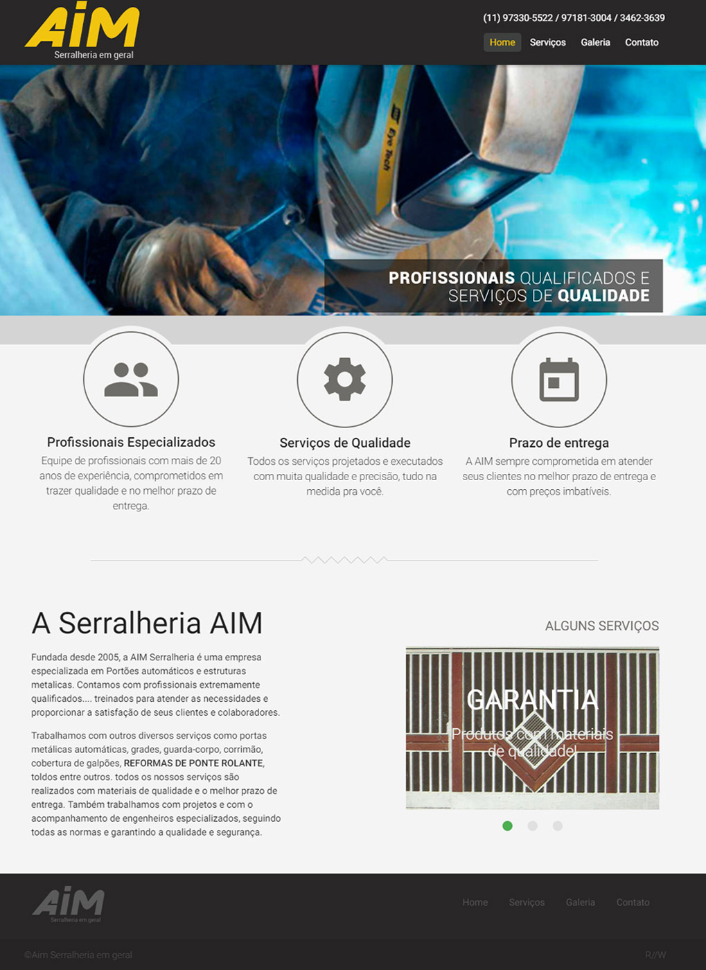 Cliente - AIM Serralheria Cotia - R2W Agência Web